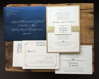 "Navy and Gold Wedding Invitations, Navy Wedding Invitation, Luxury Wedding Invitations - ""Elegant Navy Script"" Sample"