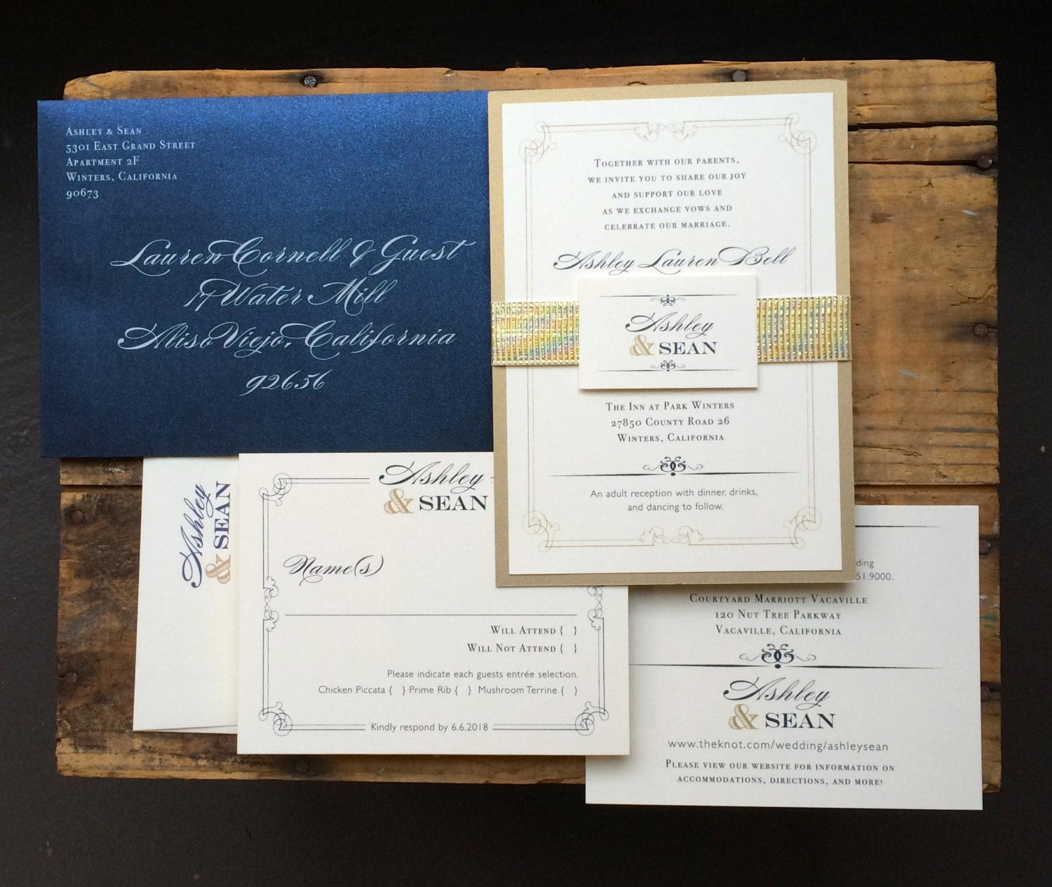 Navy Blue And Gold Wedding Invitations: Navy And Gold Wedding Invitations Navy Wedding Invitation