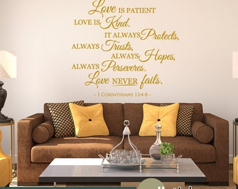 1 Corinthians 13 Scripture Wall Decal - Love Never Fails - Bible Wall Quote - Wall Decor Sticker- WD0363