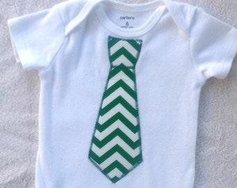 Green Chevron Tie Bodysuit / Baby Boy