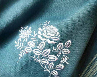 French styled floral embroidered heavy cotton towel