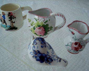 Vintage Mini Collection Italian pitchers hand painted signed by artist 1960