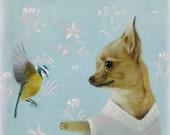 Chihuahua and spring bird Chihuahua print Chihuahua illustration Chihuahua picture chiwawa print dog print dog lover wall art decor