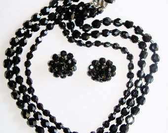 Vintage Black Glass Bead Jewelry Set 3 Strand Necklace and Earrings Wedding Party Prom Jewellry