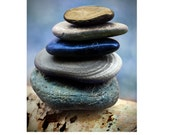 Zen stone pile, multi colored stones gray purple blue, woodland, rich color, balanced stones print, meditation, peaceful, balanced