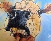 Curious cow Art card