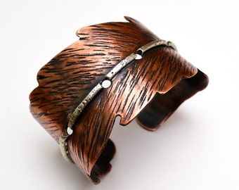 Feather-Shaped Copper Cuff with Sterling Silver