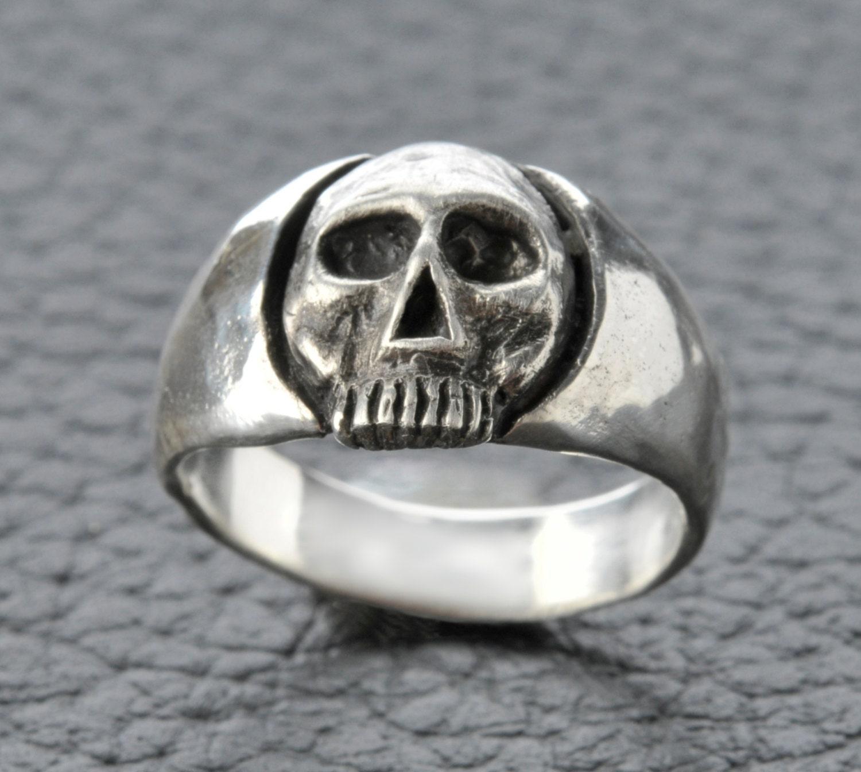 skull ring custom mens or s custom 925 by johnny10rings