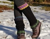 Kashmir wool knitted and crochet  black green blue purple yellow and turquoise leg warmers by olimpa