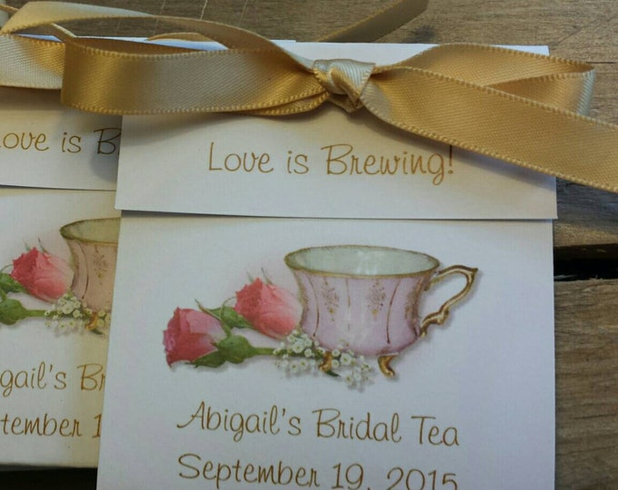 Beautiful Pink Elegance Personalized Tea Bag Favors Wedding Shower or Bridal Shower Party Favors pink and gold teacup SALE tea cups