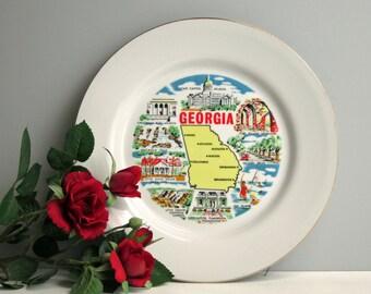 Georgia souvenir state plate - vintage 50 state travel plate - plate decor - Georgia landmarks - USA retro road trip collectible