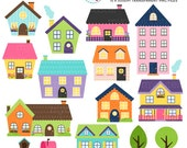 Houses Clipart Set - clip art set of houses, bright houses, cute houses, house, trees - personal use, small commercial use, instant download