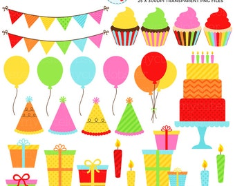 Birthday Party Clipart Set - rainbow, clip art set, birthday, presents, cupcake, hats - personal use, small commercial use, instant download