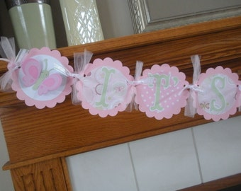 Its A Girl Baby Banner, Butterfly Baby Shower Banner, Gender Reveal Banner Pink and Sage Baby Banner, Matching Tissue Poms are Available