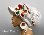 MADE TO ORDER White slouch hat/ dreadlock hat with rasta stripes brim and drawstring/free crochet earrings and detachable flower clip