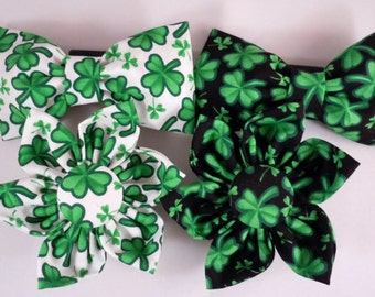 Dog Flower, Dog Bow Tie, Cat Flower, Cat Bow Tie - St Patrick's Day Four Leaf Clover