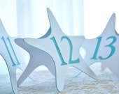 STARFISH Table Numbers for Wedding - White - Turquois - Teal - Aqua - Freestanding - Table Number Cards - Table Number Signs - Beachy