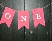 PINK ONE High Chair Banner - First Birthday - Girl Birthday Party Decor - Hanging Banner - Princess Birthday