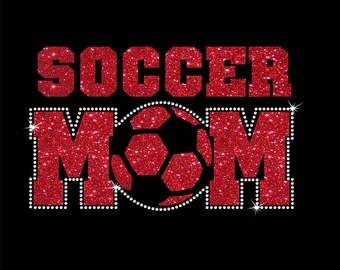 Women's Glitter and Rhinestone Soccer Mom Shirt