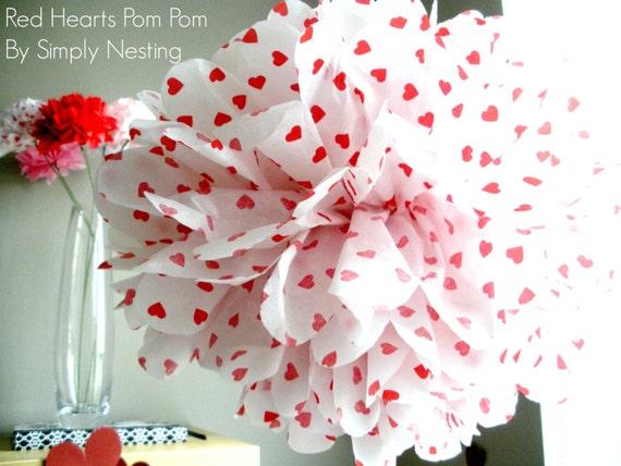 Valentines day tissue paper pom pom red heart pom pom valentines il570xn mightylinksfo