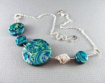 Polymer Clay Necklace Wire Wrapped Necklace Turquoise and Silver Necklace Polymer Clay Jewelry Wire Wrapped Jewelry