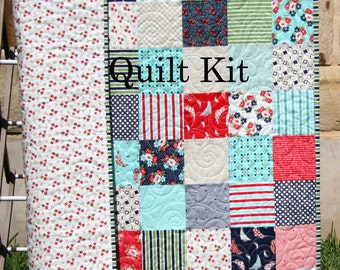 Woodland quilt kit diy project easy beginner striped panel daysail quilt kit bonnie and camille moda fabrics green red blue aqua cream solutioingenieria Images