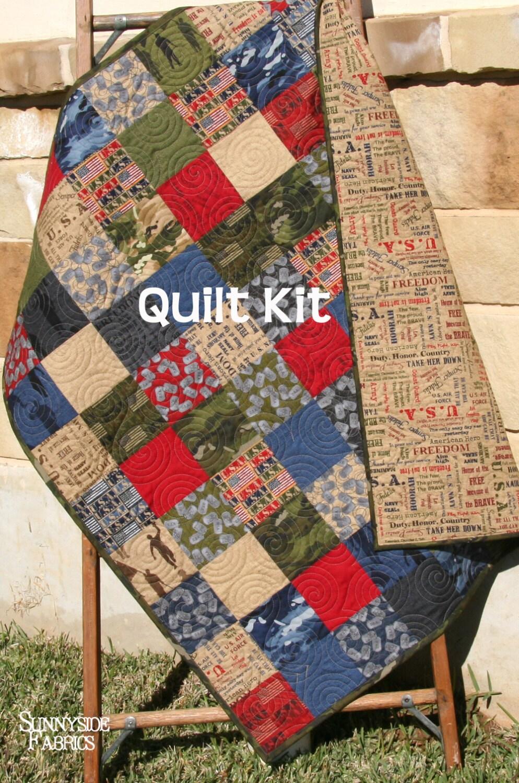 LAST FIVE Quilt Kit Military USA Patriotic Army Navy Coast