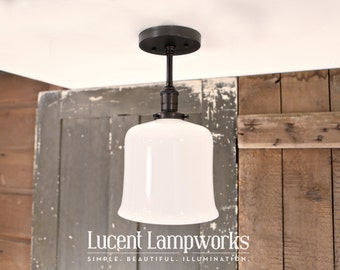 Ceiling Semiflush Lighting Exposed Socket Design with Opal Flared Glass Shade