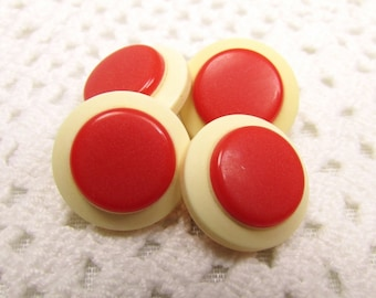 "With a Crimson Dot: 5/8"" (15mm) Vintage Off White and Red Buttons - Set of 4 Matching Buttons"