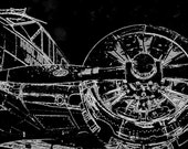 """White on Black """"Blueprint Style"""" of Vintage US Navy Aircraft """"Up Close and Personal"""" INSTANT DOWNLOAD Version"""