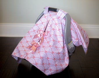 "Baby Car Seat Canopy Cover with slit AND Nursing Veil / Nursing Cover - ""Pink Wave"""