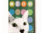 Wooden Art Sign Planked Meow wall decor cat green chalkboard painted circles
