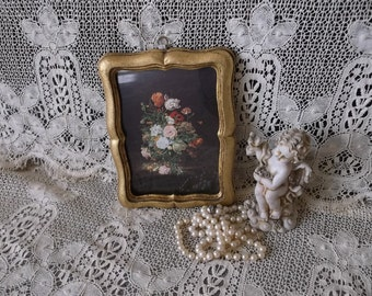 Vintage florentine picture, flowers, Made in Italy, Romantic home decor