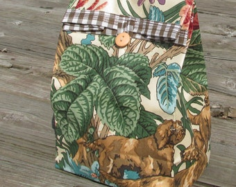 Cloth lunch bag  // Re-useable lunch sack // washable lunch bag
