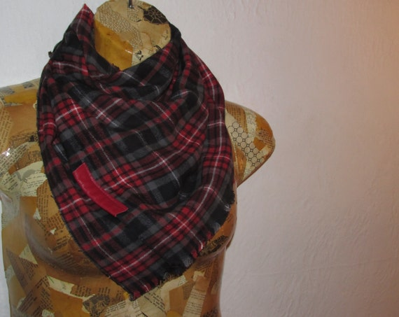 For Amber-  Red plaid Infinity scarf with button detail///transforming to a rectangle type scarf