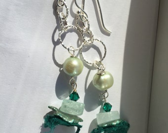 Boho, Honeydew Pearl, Aquamarine Silver Dangle Earrings, Gifts for Her, Jewelry, Lilyb444