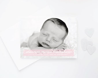 Sheer Tinted Birth Announcements - Simple Elegant Photo Baby Announcement