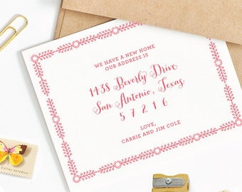 Floral Frame Flat Printed Moving Announcements - New Address New Home Announcements