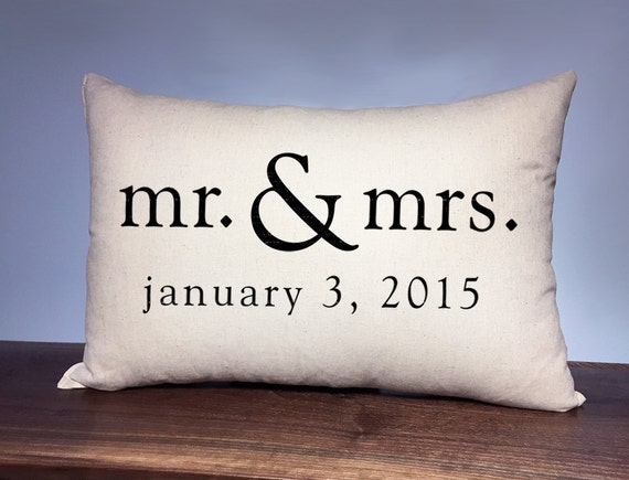 Mr Mrs Wedding Gifts: Mr & Mrs Personalized Wedding Pillow Anniversary Gift By