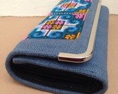 Beautiful Hmong Embroidered Wallets, Hmong Ethnic Bag, Embroidered Purse, Hill Tribe Bag, Handmade Clutch Purse, Slate Grey Wallet