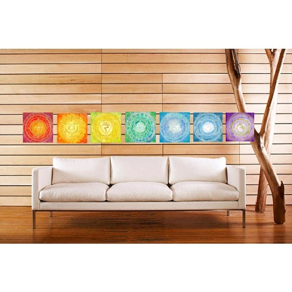 12x12 Canvas Set Chakra Mandala Art Set Metaphysical Sacred Geometry Reiki Yoga inspired Wall decor by Lauren Tannehill ART