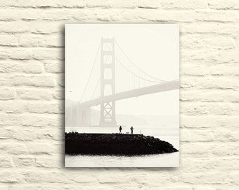 "Golden Gate Bridge Photography. San Francisco. Silhouette Photography. Fog. ""Misty Morning"". Sausalito. Nautical home decor. Canvas wall art"