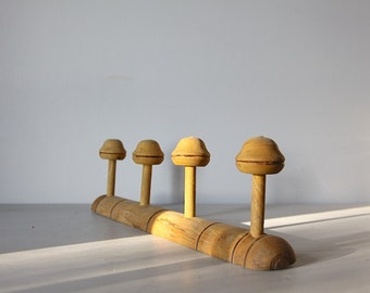 Vintage French  Coat Hook Hat Rack French Faux Bamboo 4 pegs
