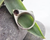 Angular Geometric Ring. Sterling Silver with Ruby Red Garnet.