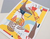 Screenprint handmade original yellow - brown - blue - red/ Picnic à Buckingham