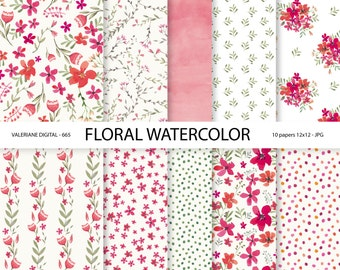 Watercolor floral digital paper, watercolor flowers, digital paper watercolor, floral digital paper, watercolor - Pack 665