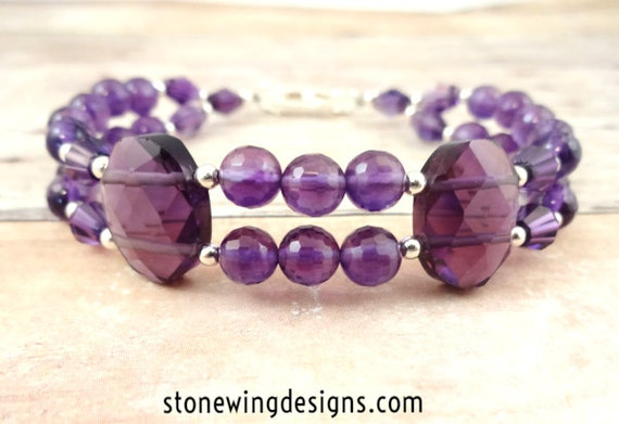 Amethyst and Purple Quartz Bracelet