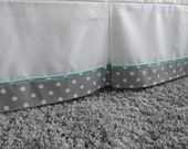 Crib Skirt in White with Polka Dot Trim and  piping - many colors to choose from