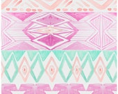 Deluxe Crib Blanket in Pink and Mint Watercolor Aztec