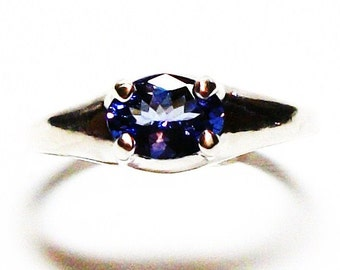 "Tanzanite, tanzanite ring, blue wedding ring, side set ring, blue, east west setting,  s 6 3/4  ""Ripple Effect"""